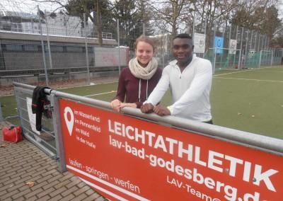Clara Behnke und Norbert Onyegbula. Wird Norbert sich die Vereinsrekorde im Sprint holen?